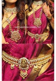 in Polki Diamond Bridal Jewellery antique gold polki diamond bridal jewelleryantique gold polki diamond bridal jewellery South Indian Jewellery, Indian Jewellery Design, Jewellery Designs, Jewelry Patterns, Mehndi Designs, Necklace Designs, Vaddanam Designs, Indian Accessories, Bridal Accessories