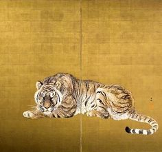 Ohashi Suiseki, Pair of Screens Depicting Tigers, Taisho Era 1912- 1926, Japan, mineral pigments on silk. in mineral pigments, gofun or powdered clam shell, and sumi ink mounted as byobu or folding screens in two panels, depicting two tigers. Signed by the artist: Suiseki, (Ohashi Suiseki, the go or art name of Ohashi Uichiro, 1865 – 1945)