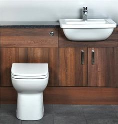 Walnut Fitted Bathroom Furniture Cupboards 1200mm With Basin Sink and Toilet