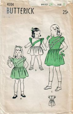 Boutique fashion for girls in my #etsy shop: 1940s Butterick 4204 Vintage Sewing Pattern Girls Party Dress, Dirndl Skirt Dress Size 6 http://etsy.me/2FmvL3T #supplies #sewing #girlsdresspattern #dresssewingpattern #girlspartydress #1940ssewingpattern #40svintagedress