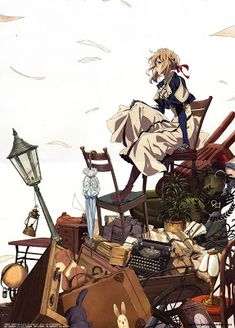 Welcome to Violet Evergarden! The Auto Memory Dull Service is now activated and Violet is the lead member of our service. Manga Anime, Anime Art, Violet Evergarden Wallpaper, Violet Evergreen, Violet Evergarden Anime, Violet Garden, The Ancient Magus Bride, Graphisches Design, Kyoto Animation
