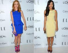"""As estrelas de """"Glee"""", Jayma Mays e Naya Rivera, escolheram vestidos comportados nas cores azul klein e amarelo clarinho, respectivamente."""