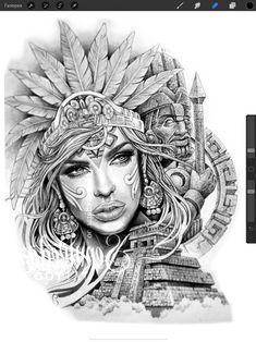 Chicano Art Tattoos, Chicano Drawings, Gangsta Tattoos, Tattoo Drawings, Art Drawings, Best Neck Tattoos, Full Sleeve Tattoos, Tattoo Studio, Aztec Warrior Tattoo