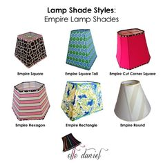 Do you know what an empire lamp shade looks like? Check these out. Order custom lamp shades (703-623-5952) or buy designer lamp shades at www.etsy.com/shop/elledaniel. #LampShades #Custom #Designer