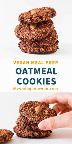 These Vegan Chocolate Oatmeal Cookies are easy to make and ready in 15 minutes. They are healthy, gluten-free, oil-free and refined sugar-free! Vegan Oat Cookies, Oatmeal Chocolate Chip Cookies, Chocolate Chip Oatmeal, Gluten Free Cookies, Healthy Cookies, Yummy Cookies, Vegan Chocolate, Oatmeal Breakfast Cookies, Breakfast Cookie Recipe