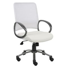 For my white desk! But if I get it I want to reupholster the seat with a cute pattern!  Aragon White Mesh Back Task Chair | Overstock.com
