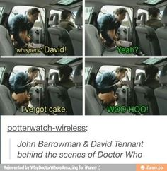 Doctor, Memes, and Yeah: whispers David! I've got cake WOO HOO! potterwatch-wireless: John Barrowman & David Tennant behind the scenes of Doctor Who John Barrowman, The Maxx, 10th Doctor, Twelfth Doctor, John David, Out Of Touch, Fandoms, Don't Blink, Dc Movies