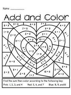 Students add then color the picture to reveal four hearts. Use as classroom decoration or a Valentine Card afterwards.   Perfect for a math center, homework, or morning work.
