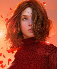 ArtStation - Simply Red, Lee McCall - shut up Digital Art Girl, Digital Portrait, Portrait Art, Character Portraits, Character Art, Female Character Inspiration, Girl Pose, Make Up Gesicht, Simply Red