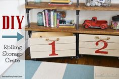 diy rolling storage crate: a fun little storage container made of wood on wheels.
