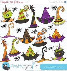 80% OFF SALE Halloween hats clipart, commercial use, vector graphics, digital clip art, digital images - CL357
