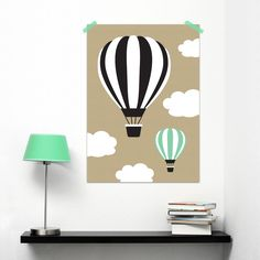 Super cute kidsroom poster with airballoons in black, white and mint by Oktoberdots