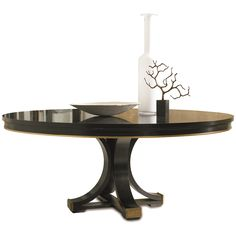 """Hickory White Celia Pedestal Base and 72""""Dia Walnut Top Dining Table 550-03_552-15"""