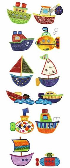 Row Row Your Boat Applique Machine Embroidery Design Machine Embroidery Applique, Applique Patterns, Applique Quilts, Applique Designs, Quilt Patterns, Quilt Baby, Sewing Crafts, Sewing Projects, Sewing Appliques