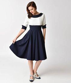 The Pretty Dress Company Navy & Ivory Half Sleeve Madison Swing Dress
