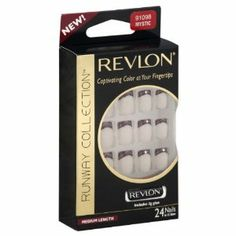 Revlon Runway Collection Nails, Medium Length, Mystic, 24 ct. by Revlon. $17.99. Captivating color at your fingertips. Includes 3 g glue. 24 nails in 12 sizes. Contents: 24 nails, bond enhancer, buffer, maxi-bond glue 0.10 oz (3 g), manicure stick. Packaged in Mexico; nails - China, glue - Japan/India/Thailand, buffer - China, stick - China.