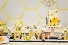 """What Will is Bee?"" Baby Shower- Designer Specialty Linens satin stripe runner in black and white."