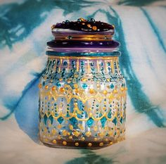 Moroccan Stash Jar Sapphire and Gold by TWRAR on Etsy