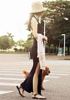 Halter Long Slit Dress