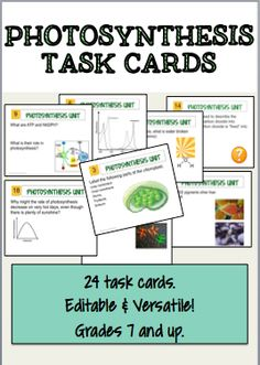 24 Task cards dedicated to photosynthesis. Makes a great review or fun class activity.