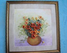 Silk ribbon embroidery 'Summer's bouquet' от myflowersworld
