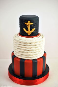 Classic Nautical Cake /// #rope #anchor #cake #stripes #wedding #cake #party #event