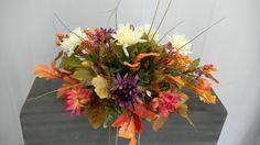 Mixed Fall Regular Cemetery Flower Headstone Saddle