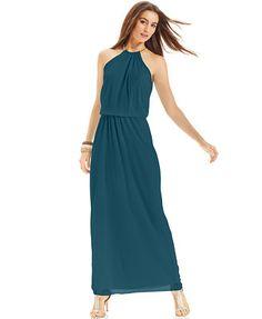 MSK Blouson Hardware Halter Maxi Dress