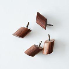 Walnut Round Wall Hooks