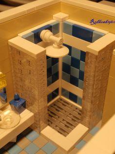 Lego MOCs City Bathroom shower by Lego Display, Lego Modular, Lego Design, Minecraft Lego, Minecraft Skins, Minecraft Buildings, Lego Bathroom, Shower Bathroom, Bathroom Green