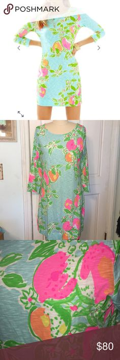 "Lilly Pulitzer Marlowe Dress Pink Leminade L NWT The Marlowe dress is a boatneck knit dress perfect all year long. You'll want to wear this printed dress with sleeves every day. It's just that good. Our lighter weight slubby cottom textured fabric is perfect for hot summer days.   Please Note: Due to the nature of the fabric, this style runs slightly sheer.  Printed T-Shirt Dress With Boatneck And 3/4 Sleeves. Length from top Of shoulder to hem is 35.75"". Armpit to armpit is 19.25"". Slub…"