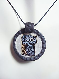 Porcelain Pendant of Wise Old Owl with Polka Dot by twointhebush, $35.00