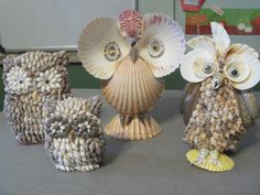 Mouse over image to zoom Have one to sell? Sell it yourself vintage lot of 4 Sea Shell Decorated OWL Figurines Beach Decor seashell figures