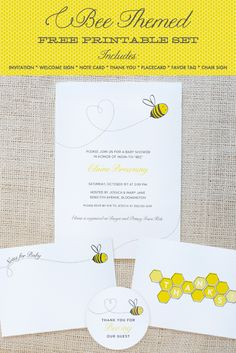 Bee Themed Free Printable - works for both baby showers and birthday parties