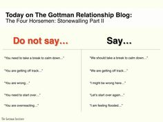 Dr Gottman's The 4 Horsemen: Stonewalling part ii