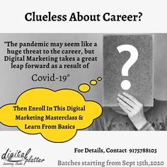 Looking to choose a world-class Profession to get a high paying job?   Well, then you should definitely join a Digital Marketing Certification Course. Digital Marketing, being, one of the top three highly demanding career options during COVID19.  'Nagpur's First Agency Based Digital Marketing Certification Course' - A premium Digital     Marketing on-the-job training program that adapts to agency style learning!!!  So don't keep on waiting!!!  Enroll now!!! Contact us on 9175788103 Learning Web, Interactive Learning, Classroom Training, Education And Training, Marketing Institute, Online Classroom, Career Options, Best Careers, Learning Environments