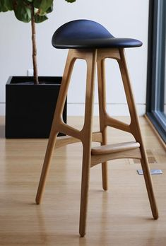 ERIK BUCH Model 61 iconic stool designs are a perfect addition to any international interior. Proudly Made in DENMARK. Accent Chairs For Living Room, Formal Living Rooms, Kitchen Stools, Counter Stools, Polywood Adirondack Chairs, Modern Bar Stools, Swivel Armchair, Wood Construction, Models