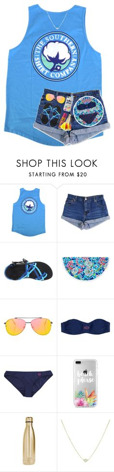 """Beach please"" by arieannahicks on Polyvore featuring Levi's, Chaco, Lilly Pulitzer, Topshop, Banana Boat and S'well"