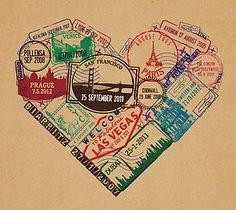 Personalised Passport Stamp Heart Print