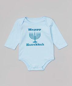 Loving this Beary Basics Blue 'Happy Hanukkah' Glitter Menorah Bodysuit - Infant on #zulily! #zulilyfinds