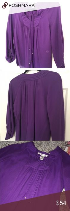 """Diane von Furstenberg Split Neck Tunic Blouse New listing! Beautiful multi-tie split Neck 3/4 sleeve Tunic Blouse in a gorgeous shade of purple. Slightly sheer. Elastic arm openings. Gently worn twice. Clean! Ever so slight fading. No other signs of wear on garment. Minor wear on tag. Overall excellent preowned condition. High quality. Beautiful cut and design. Ships fast from a clean, smoke free home. Measurements: Chest: 43"""" Shoulders: 15"""" Length: 25"""" Sleeves: 23"""" Bottom Opening: 20"""" Diane…"""