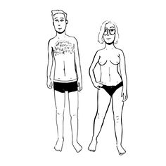 in case we need to draw on any clothes, here's a sketch of me and Anja side by side