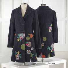 Midnight Garden Embroidered Coat - Women's Clothing, Unique Boutique Styles & Classic Wardrobe Essentials