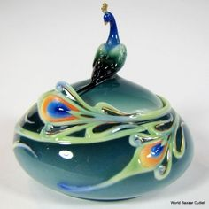 peacock jewelry bowl