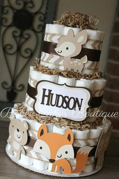 3 Tier Woodland Diaper Cake Boys Woodland Baby Shower Fox