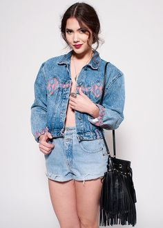 Festival Floral Vintage Denim Jacket by rumors on Etsy, $42.00