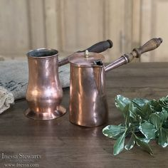 19th Century Copper Chocolate Pot - Inessa Stewart's Antiques Copper Kitchen, Chocolate Pots, Antique Copper, Teapots, Cookware, Cast Iron, 19th Century, Tin, History