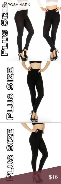 Black Leggings OS Fits 1X-3X Solid black cotton plus size leggings. Beauty Shines On Boutique Pants Leggings