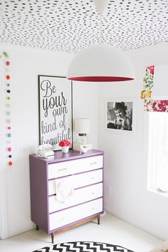 DIY Modern Girls Room Makeover by Diving Living Space - Cheetah Spots Stencil on Ceiling by Royal Design Studio