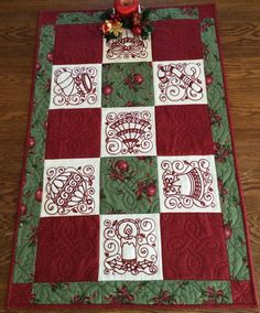 Advanced Embroidery Designs. Christmas Ornaments Table Runner